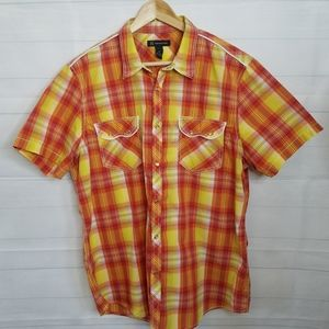 INC Women's Plaid Button Down Shirt w Snap Buttons
